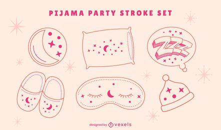 Conjunto de arte em linha de pijama para festa do pijama