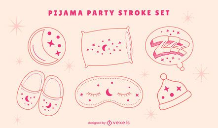 Sleepover pajama party line art set
