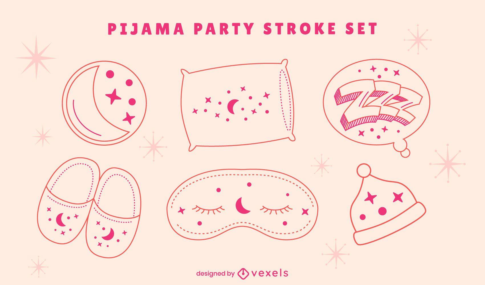 Sleepover pajama party line art set