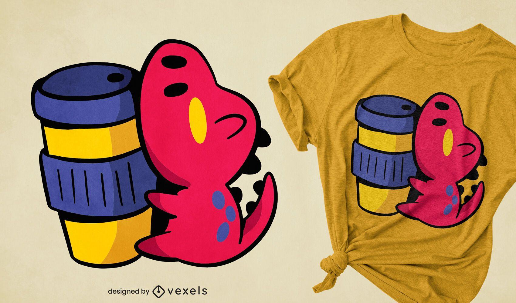 Diseño de camiseta de taza de café de dinosaurio kawaii