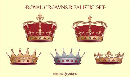 Conjunto de ilustración de rey de coronas reales