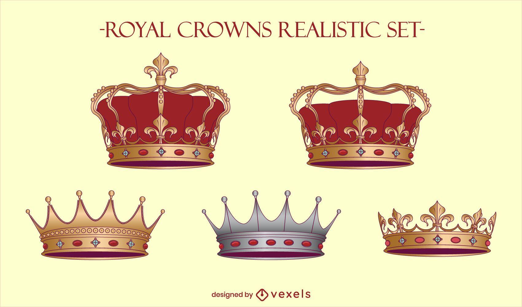Conjunto de ilustração de rei de coroas reais