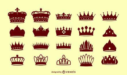 Conjunto de silueta de rey de coronas reales