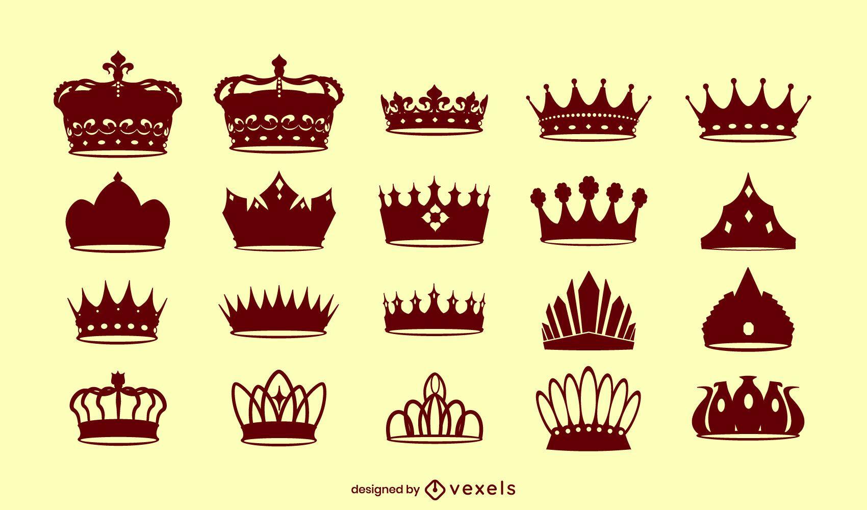 Royal crowns king silhouette set