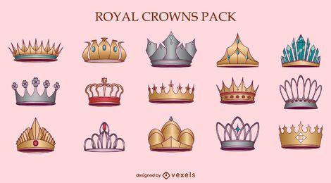 Conjunto de ilustración de reina de coronas reales