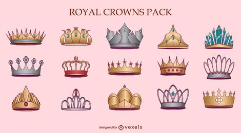 Royal crowns queen illustration set