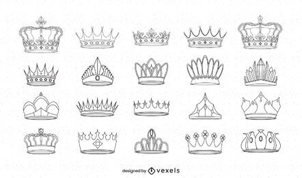 Conjunto de arte de línea de reino de coronas reales