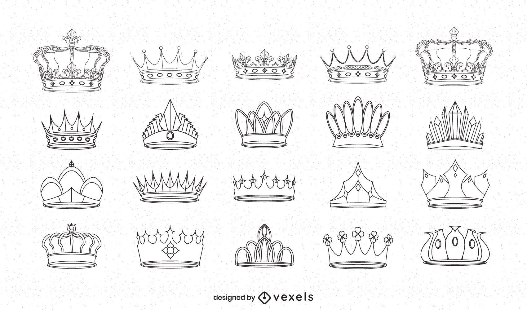 Conjunto de arte em linha do reino das coroas reais