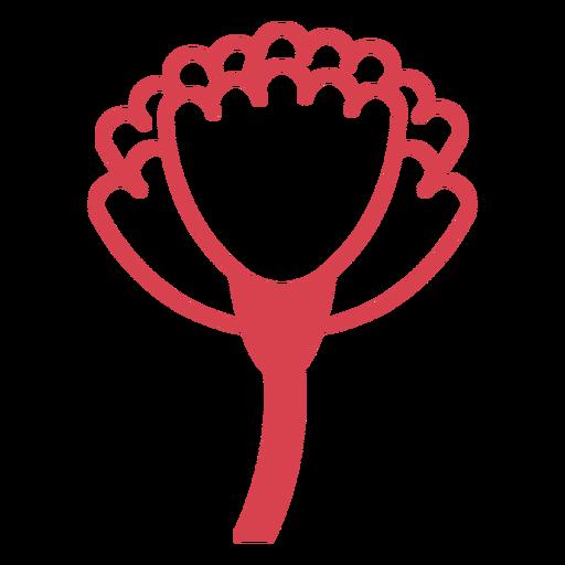 Side red filled stroke flower