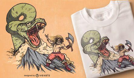 Diseño de camiseta de serpiente de lucha vikinga.