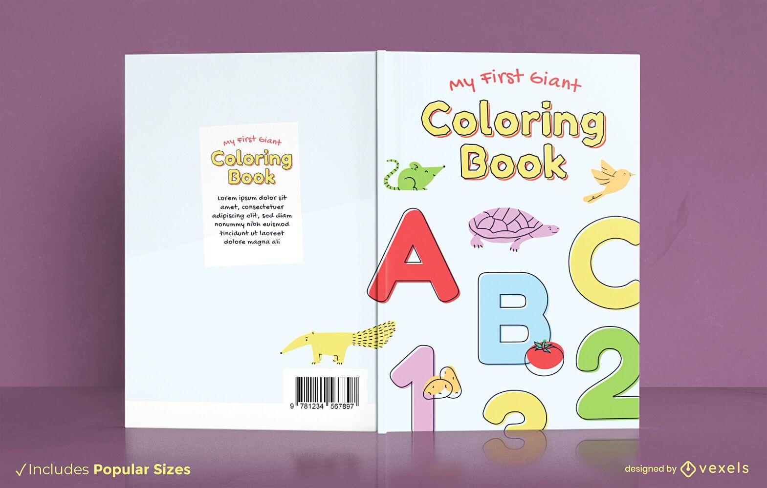 Libro de colorear para el diseño de la portada de los niños pequeños