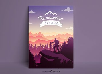 Hiking landscape nature poster design