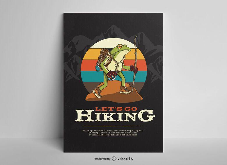 Senderismo diseño de cartel de rana de paisaje.