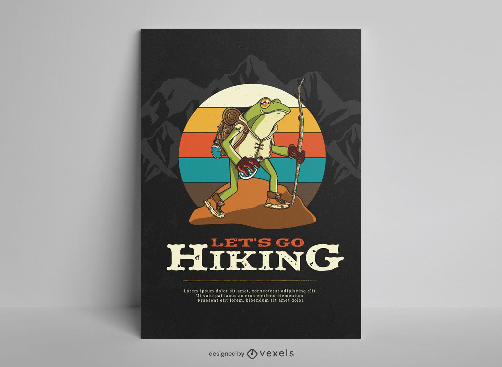Hiking landscape frog poster design