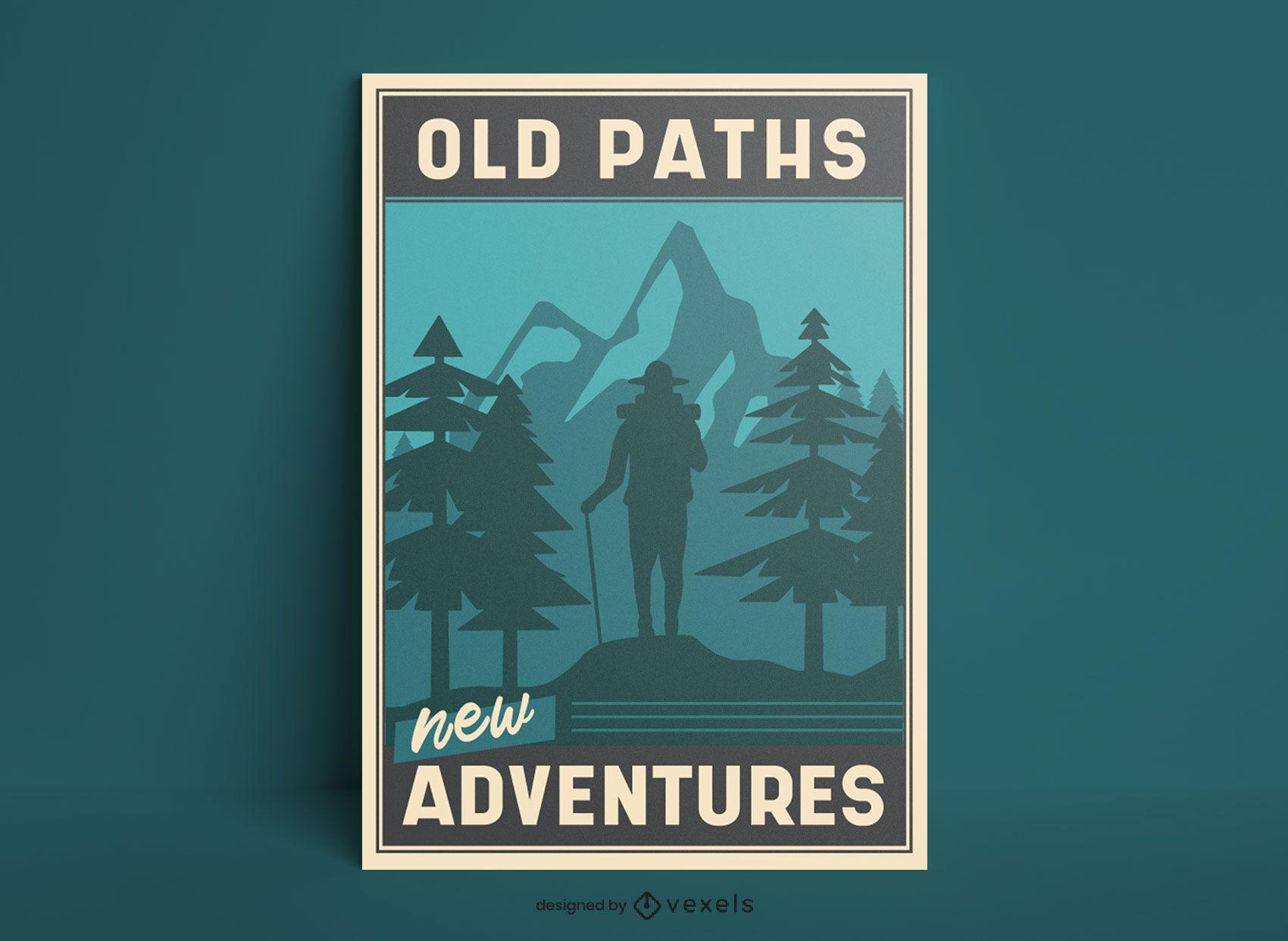 Hiking landscape monochromatic poster