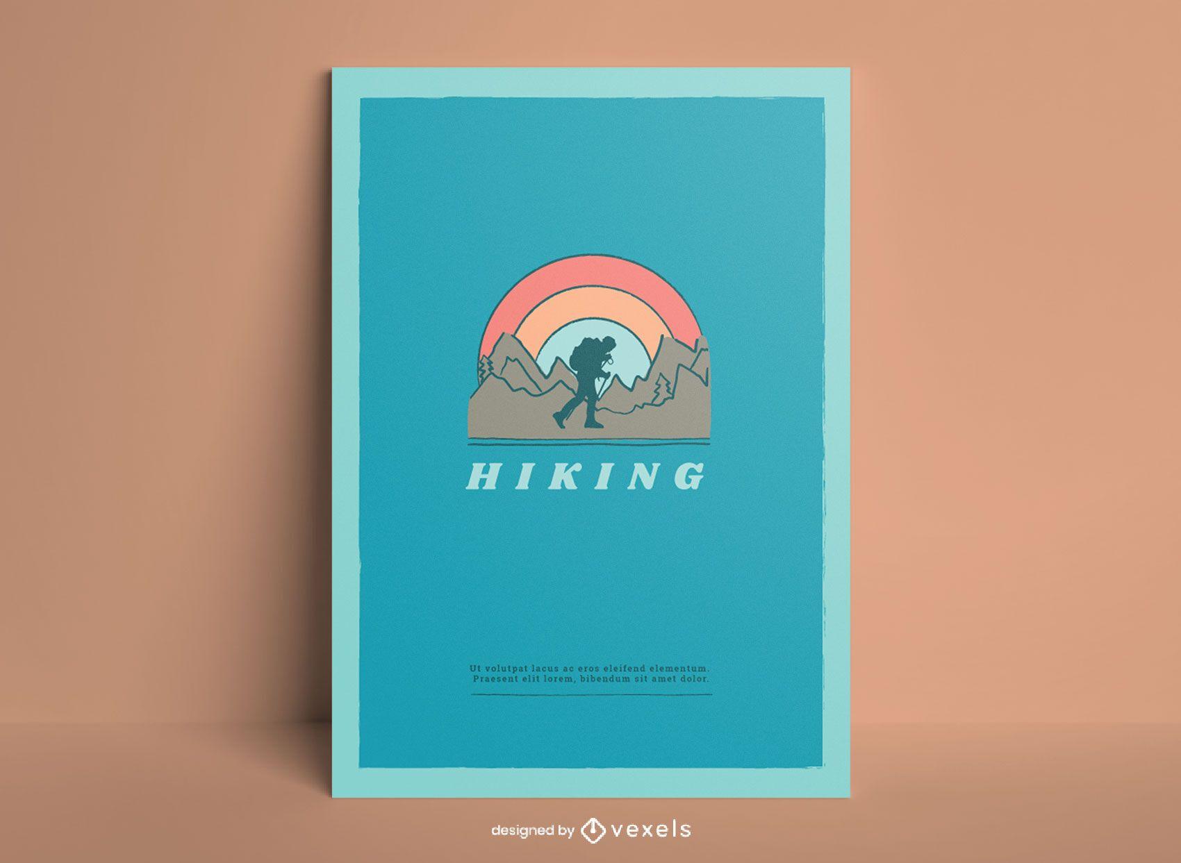 Wanderlandschafts-Gekritzelplakatdesign
