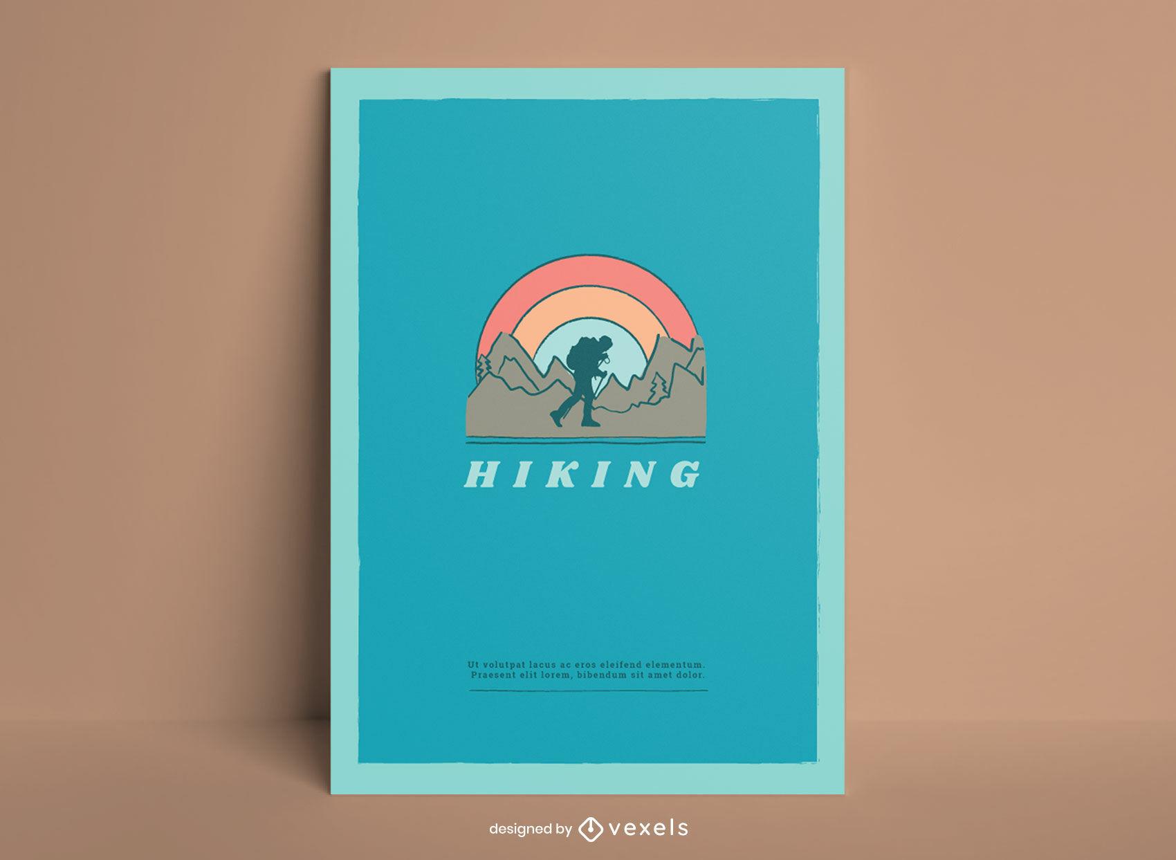 Hiking landscape doodle poster design