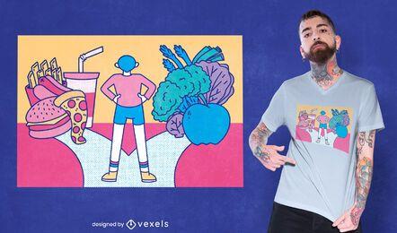 Diseño de camiseta de comida sana vs comida rápida.