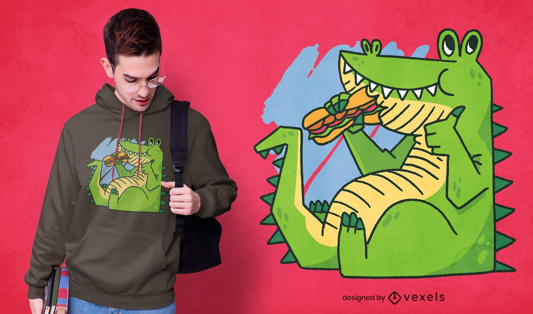 Diseño de camiseta de dibujos animados de cocodrilo comiendo sándwich