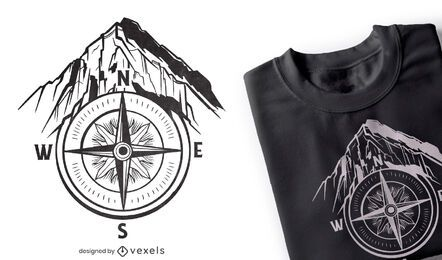 Diseño de camiseta de montaña de guía de brújula.