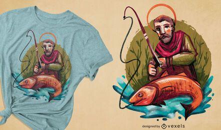 Saint fishing hobby t-shirt design