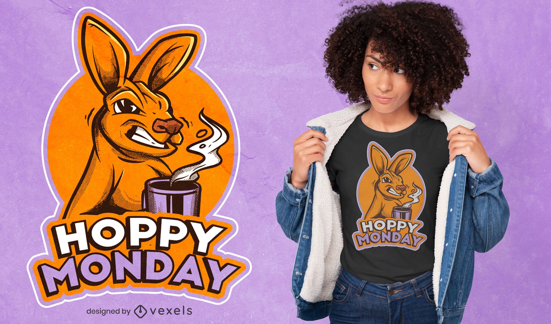 Design de camiseta canguru furiosa segunda-feira