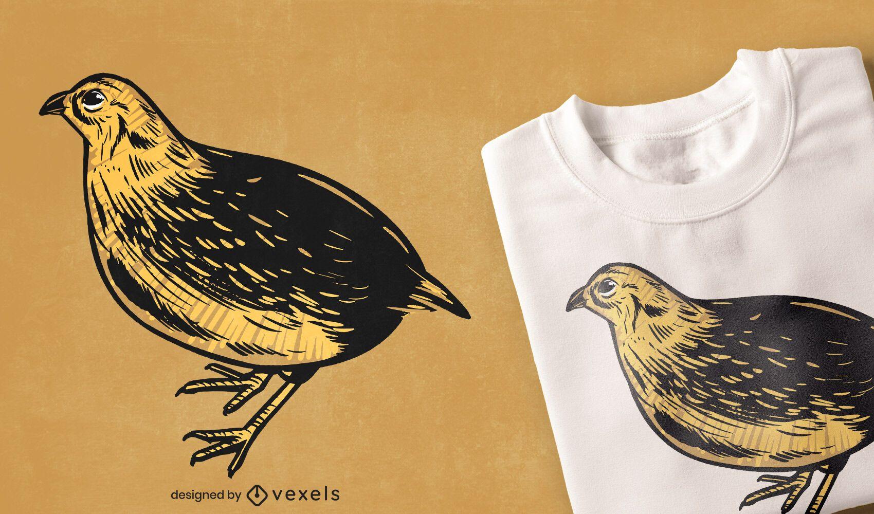 Diseño de camiseta de ilustración de pájaro de codorniz