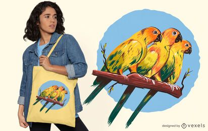 Three parakeets tote bag design