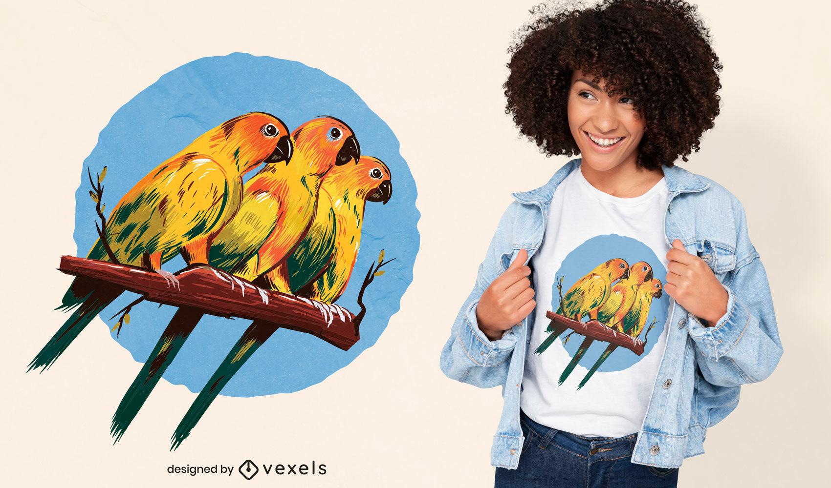 Diseño de camiseta de tres periquitos.