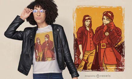 Female pilots illustration t-shirt design