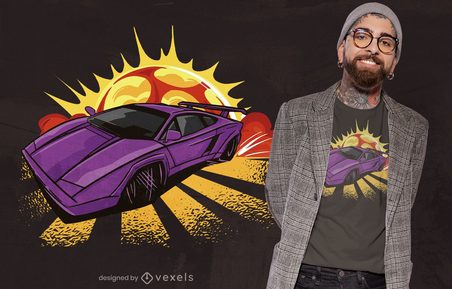 Purple sports car cool t-shirt design