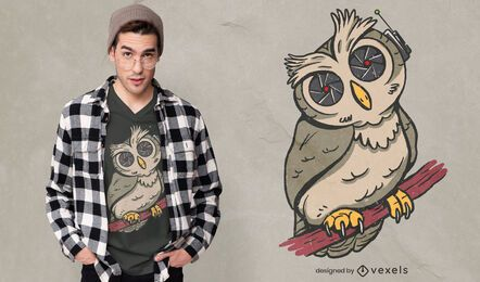 Diseño de camiseta de ilustración de pájaro búho espía
