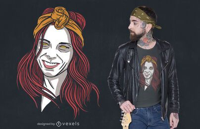 Desenho de t-shirt com ilustração de mulher ruiva