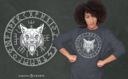 Diseño de camiseta de círculo de runas nórdicas de cabeza de lobo