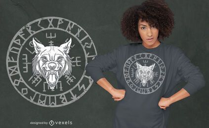 Wolfs head nordic runes circle t-shirt design