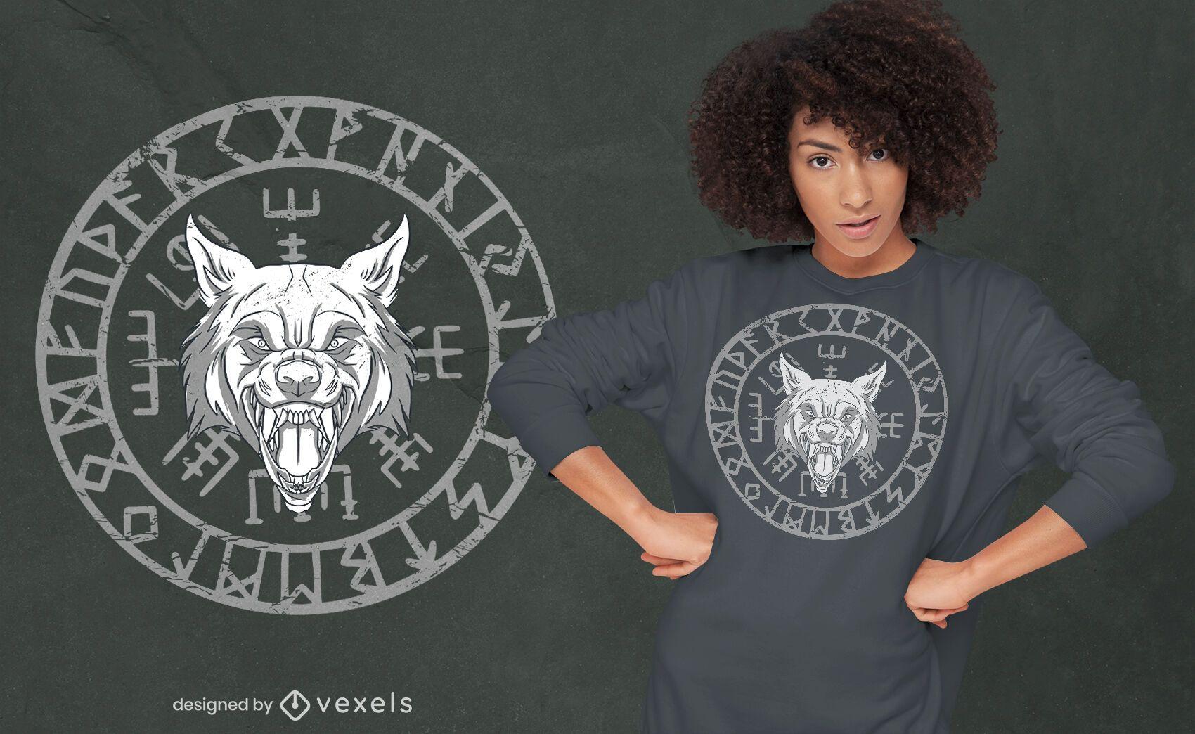 Design de camiseta com círculo de runas nórdicas Wolfs head