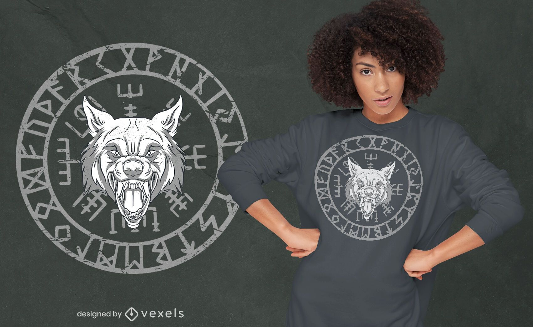 Wolfs head nordic runes circle t-shirt design