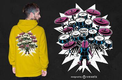 Diseño de camiseta de bebé baterista