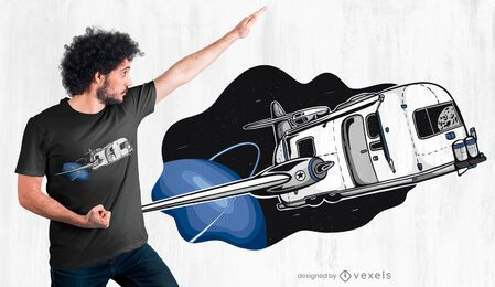 Diseño de camiseta de remolque del transbordador espacial.