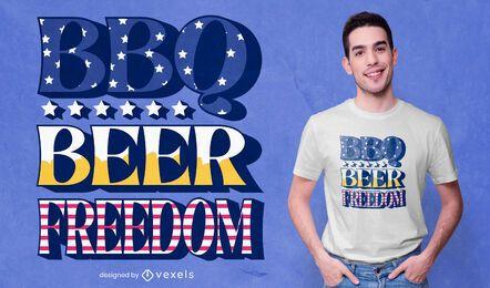 Diseño de camiseta de cita de libertad de cerveza barbacoa