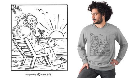 Diseño de camiseta de big foot beach line art