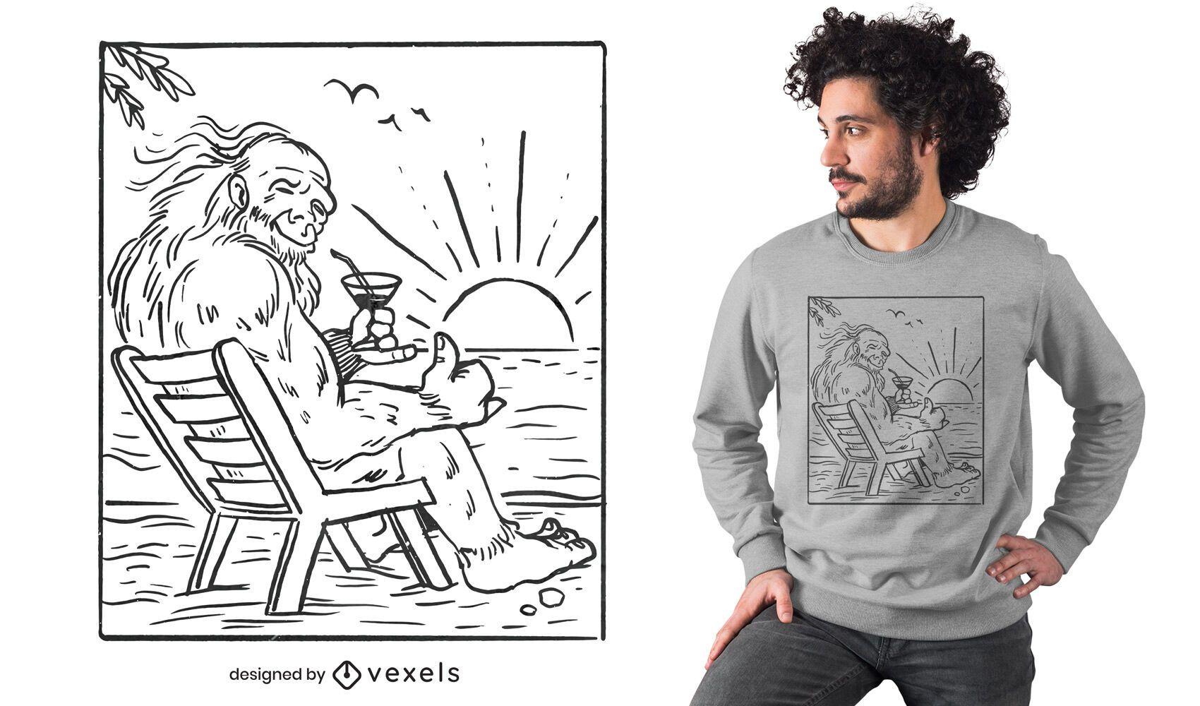 Diseño de camiseta de big foot beach line art
