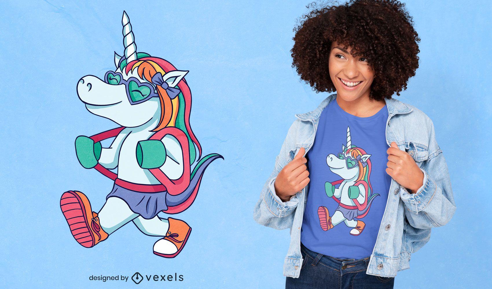 Diseño de camiseta de estudiante unicornio.