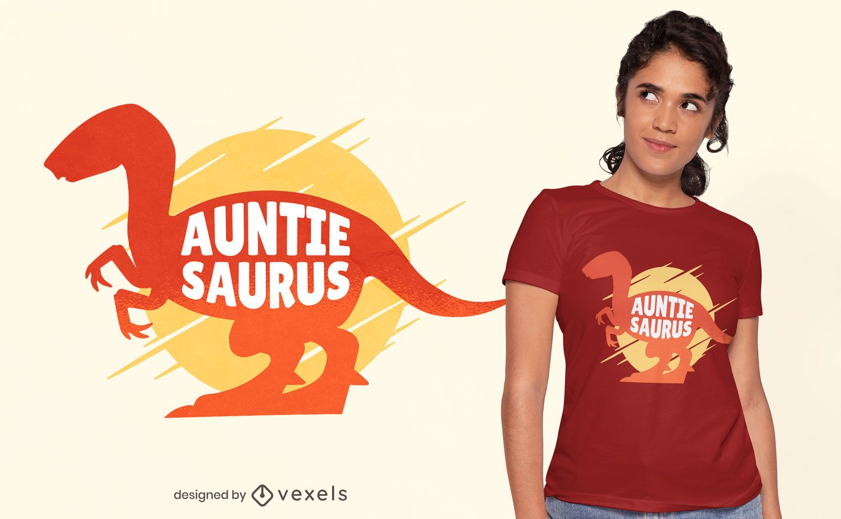 Auntie saurus t-shirt design