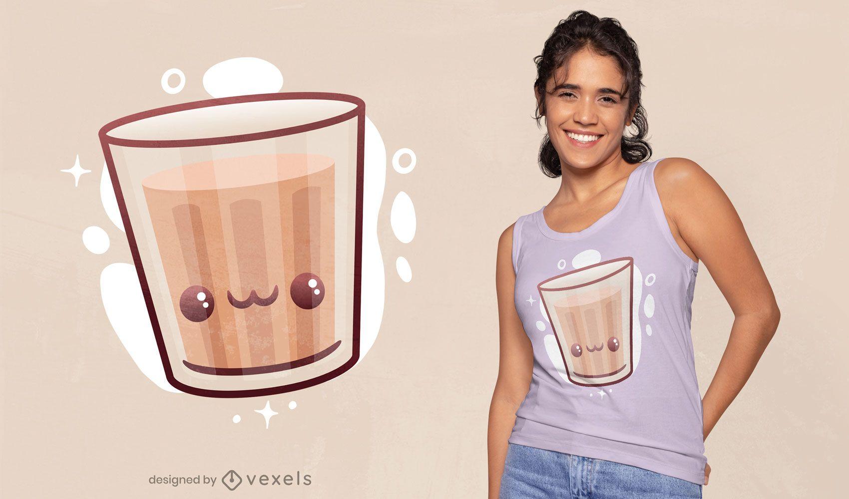 Kawaii cortando design de camiseta com chá chai
