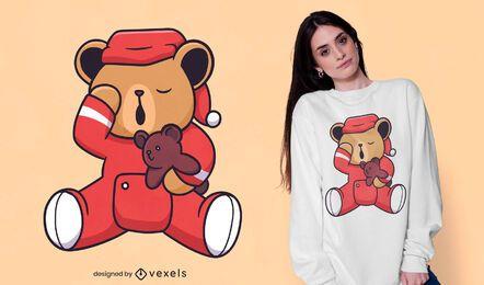 Diseño de camiseta de oso de peluche soñoliento