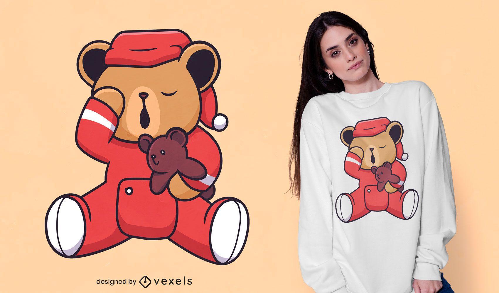 Urso sonolento com design de t-shirt de ursinho de pelúcia