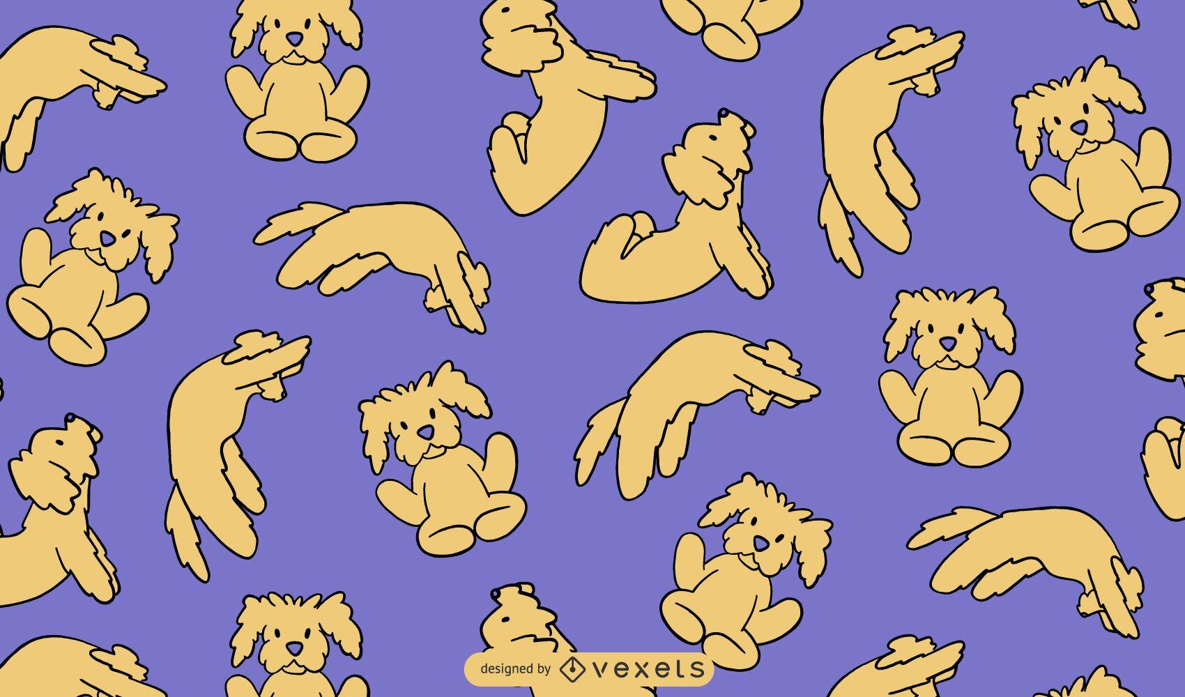 Cão de ioga posa desenho de padrão fofo