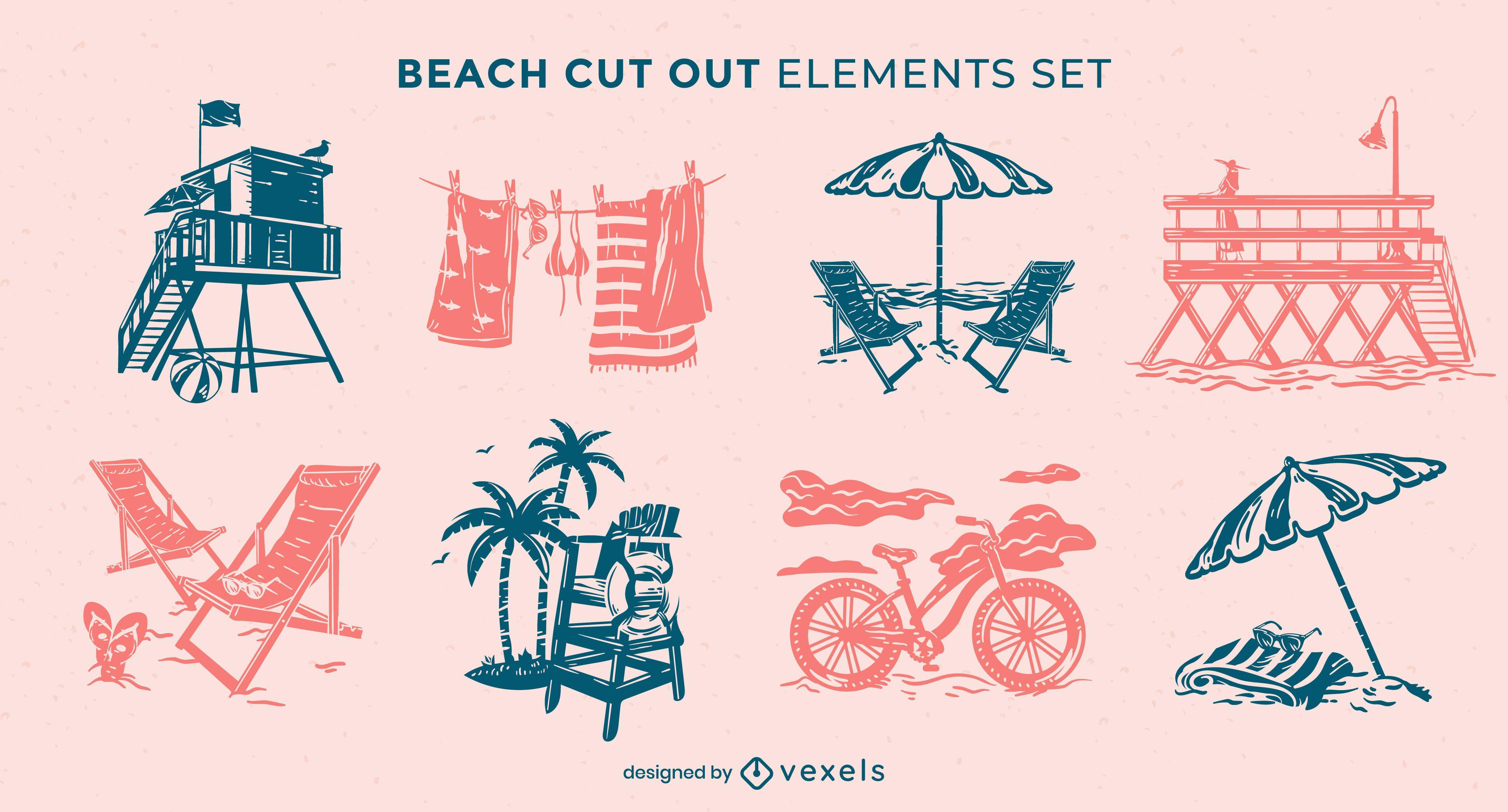 Conjunto de recorte de elementos de praia de verão