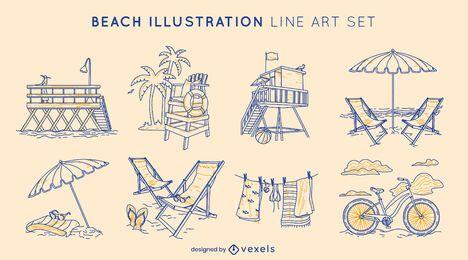 Conjunto de arte de línea de elementos de playa de verano
